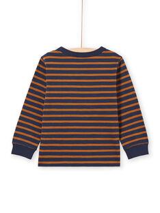 T-shirt manches longues à rayures marrons et bleu marine enfant garçon MOJOTIRIB4 / 21W9022BTML812
