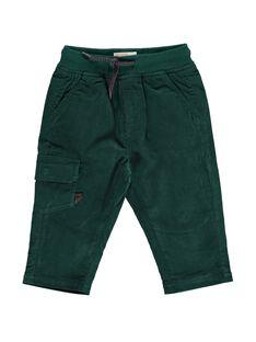 Pantalon en velours vert bébé garçon DUJOPAN7 / 18WG10J1PAN060