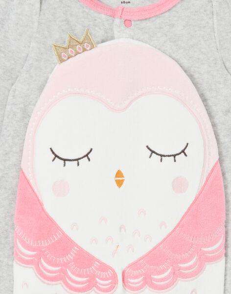 Grenouillère gris chiné et rose en velours motif hibou LEFIGRECHOU / 21SH1358GREJ920