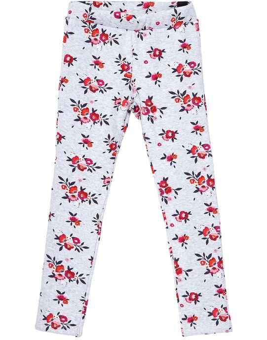 Legging fourré gris chiné imprimé fleuri JAVIPANT / 20S901D1PAN943