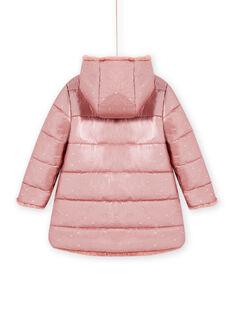Parka à capuche réversible rose en fausse fourrure enfant fille MACOMPARKA / 21W90164PAR303