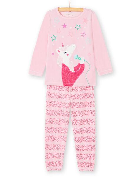 Pyjama enfant fille rose motif licorne KEFAPYJROC / 20WH11CBPYJD313