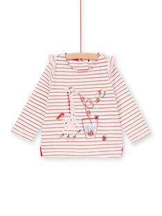 T-shirt  rayures rouges animation girafe bébé fille LICANTEE / 21SG09M1TML001