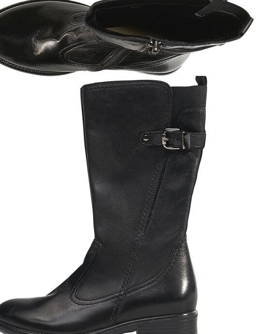 Botte cavalière cuir noir enfant fille GFBOTTECAVA / 19WK35X1D10090