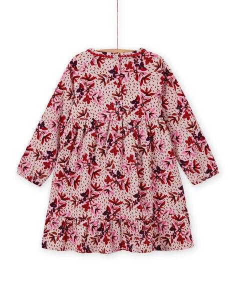 Robe en velours côtelé à imprimé fleuri enfant fille MACOMROB1 / 21W901L1ROBD329