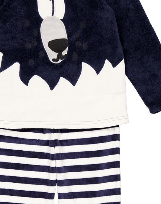 Pyjama marine en velours et soft boa enfant garçon GEGOPYJBOA1 / 19WH12N3PYJ070