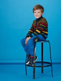 Pull camionneur en tricot multicolore enfant garçon KOSAPUL / 20W902O1PULC243