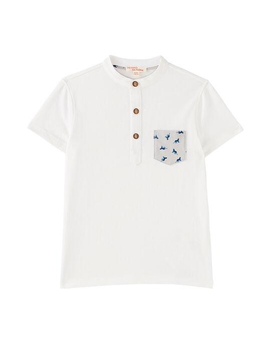 Tee-shirt tunisien uni blanc garçon avec poche imprimée JOJATI1 / 20S902B1TMC001