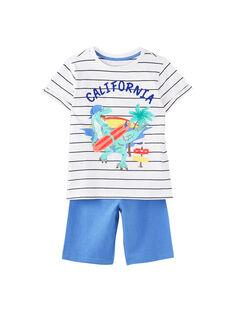 Pyjama court enfant garçon bleu et écru JEGOPYCALI / 20SH12U3PYJ001
