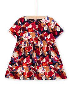 Robe imprimé fleuri en velours bébé fille MIFUNROB1 / 21WG09M1ROB070