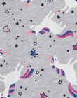 Sweat à capuche gris chiné, imprimé licorne  LAJOHOJOG1 / 21S90141D33943